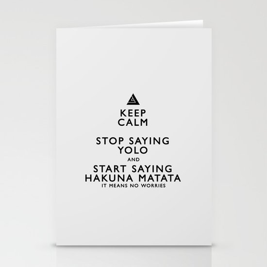 Keep Calm Forget YOLO - BLACK Stationery Cards