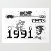 sonic Art Prints featuring Sonic by Small Worlds