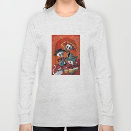 Dia de Muertos Musical Skeleton Band Long Sleeve T-shirt