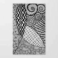 zentangle Canvas Prints featuring Zentangle by kinseymichelle