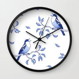 Blue Singing Birds Wall Clock