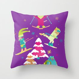 Rad Cats Shred Throw Pillow