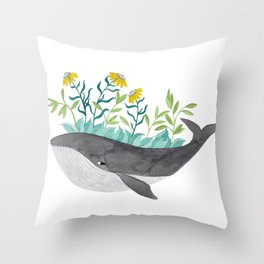 whale with mustard flowers watercolor Throw Pillow