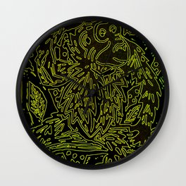 Glowing monkey, digital lino print Wall Clock