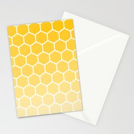 Bright yellow gradient honey comb pattern Stationery Cards