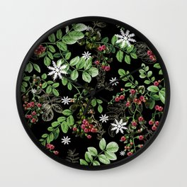 mid winter berries Wall Clock