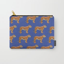 TIGERS pattern on Dazzling Blue  Carry-All Pouch