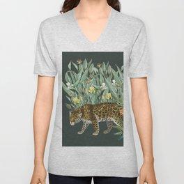 Floral Tiger Jungle Green Unisex V-Neck