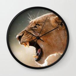 Phenomenal Stunning Female African Lion Roaring Head Profile Close Up Ultra HD Wall Clock