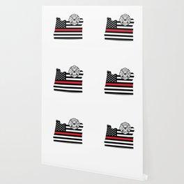 Oregon Firefighter Shield Thin Red Line Flag Wallpaper