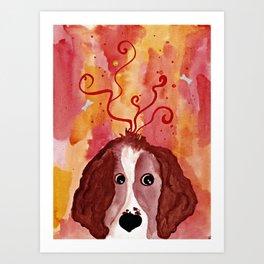Red Springer Spaniel Art Print