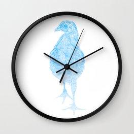 chick drawing, blue Wall Clock