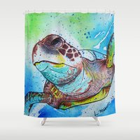 sea turtle Shower Curtains featuring Turtle by Lauren McNee