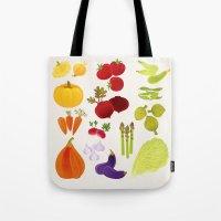 vegetables Tote Bags featuring Vegetables  by rusanovska
