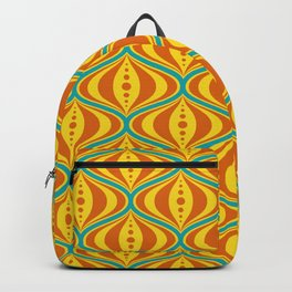 Retro Psychedelic Saucer Pattern in Orange, Yellow, Turquoise Backpack