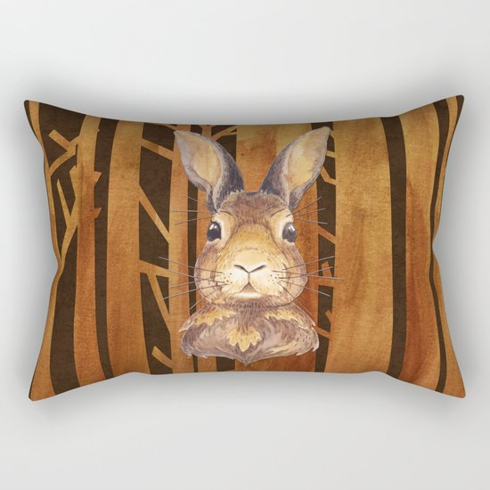 Rabbit in the forest- abstract animal hare watercolor illustration Rectangular Pillow