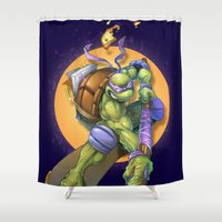 skateboard Shower Curtains featuring Donnie's Skateboard ATTACK! by Damon Fernandez