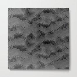 Grey Topographic Landscape Metal Print