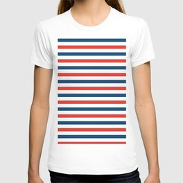 Navy blue and red stripes pattern T-shirt