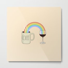Coffee & Wine at the Ends of the Rainbow Metal Print