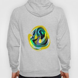 Orb, Abstract geometric Print in Blues Chartreuse & yellows Hoody