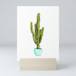 Potted Euphorbia Cactus Watercolor Mini Art Print