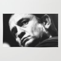 johnny cash Area & Throw Rugs featuring 8-bit Johnny Cash by BuySkullCat
