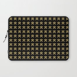 Replica of Pre-Columbian Pectoral Pattern in Gold Leaf on Black Laptop Sleeve