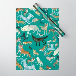 Wolves of the World Green pattern Wrapping Paper