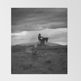 Black and White Cowboy Being Bucked Off Throw Blanket