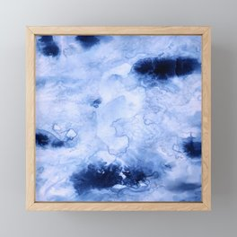 Marbled Water Blue Framed Mini Art Print