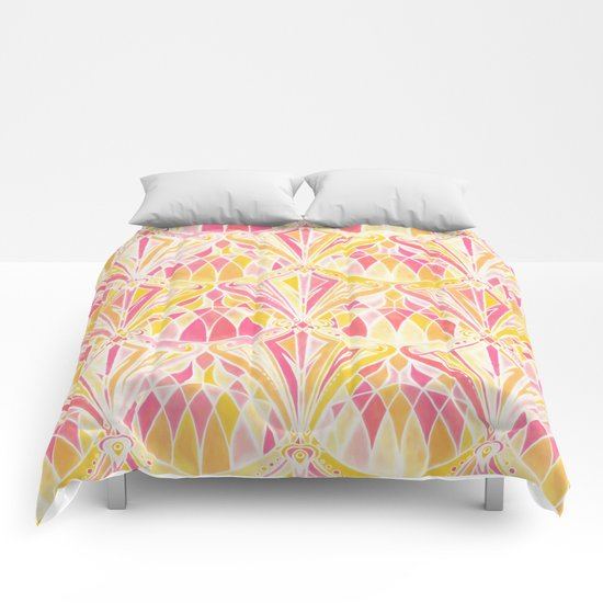 Art Deco Pattern in Pink and Orange Comforters
