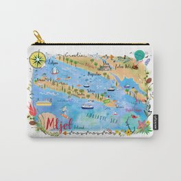 Illustrated Island Map of Mljet Carry-All Pouch