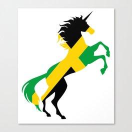 Unicorn Jamaica Flag Magical Unicorn Jamaican Canvas Print