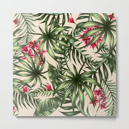 Tropical leave pattern 9.4 Metal Print