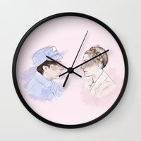 budapest hotel Wall Clocks featuring The Gran hotel Budapest Lovers by Clunaillustration