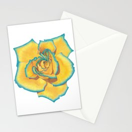 Yellow and Turquoise Rose Stationery Cards