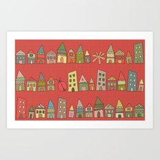 City {Housylands - red} Art Print