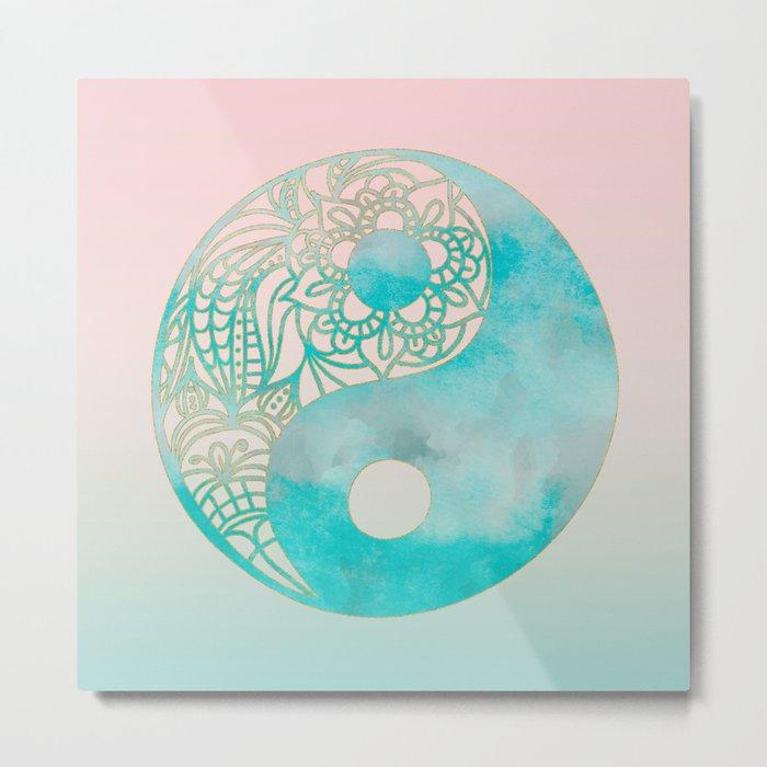 Yin Yang Watercolor Esoteric Symbol teal and soft pink #yinyang Metal Print