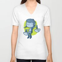 libra V-neck T-shirts featuring Libra by Chiara Zava
