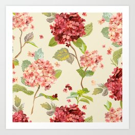 Fall Hydrangeas, Floral Print Art Print