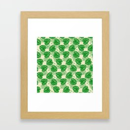Monstera pattern Framed Art Print