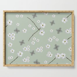 Nature Pattern, green, white, floral, flowers, leaves, botanical, pattern, art, society6 Serving Tray