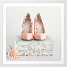 Blush coral heels and french books Art Print