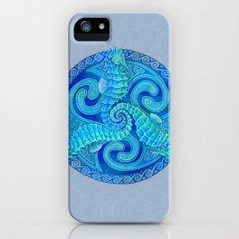 Seahorse Triskele Celtic Blue Spirals Mandala iPhone Case