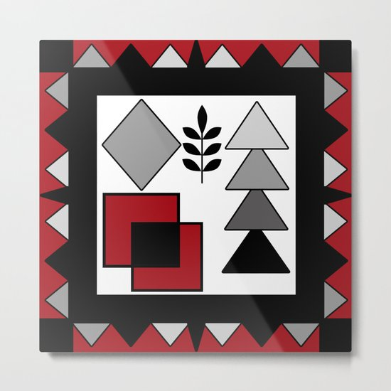 Ethnic pattern in red-black-white colors Metal Print