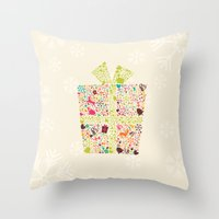 gift card Throw Pillows featuring Christmas Gift 02 by BlueLela