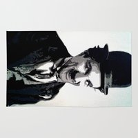 charlie chaplin Area & Throw Rugs featuring Charlie by AUSKMe2Paint