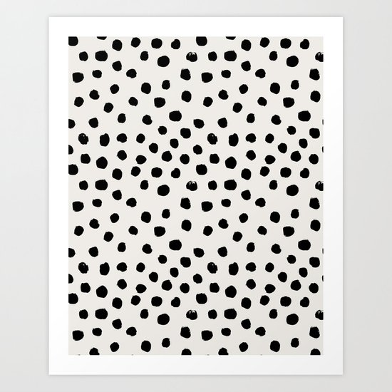 Preppy Brushstroke Free Polka Dots Black And White Spots