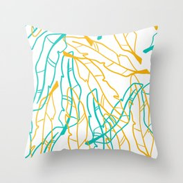 Big blue and yellow hollow feathers Throw Pillow